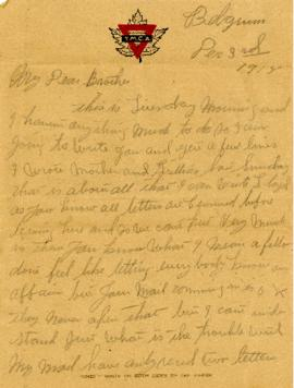 Letter from Weldon Morash to his brother Lloyd dated 3 December 1918