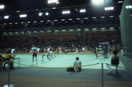 Photograph of a handball game featuring Denmark versus Czechoslovakia