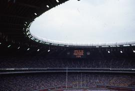 Photograph of a stadium on the opening day