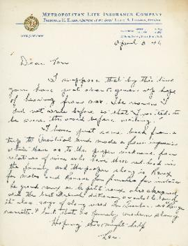 Correspondence between Thomas Head Raddall and Louis J. Charron