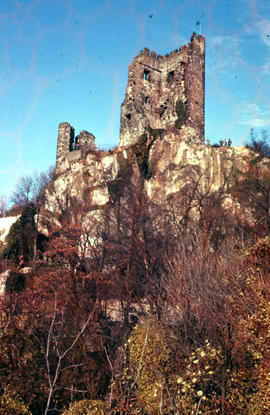 Photograph of a portion of the castle the ruins at Drachenfels