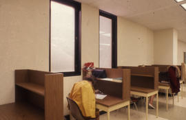 Photograph of work stations in the Kellogg Library