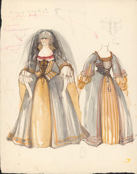 Costume design for Serving Lady #1 and #2