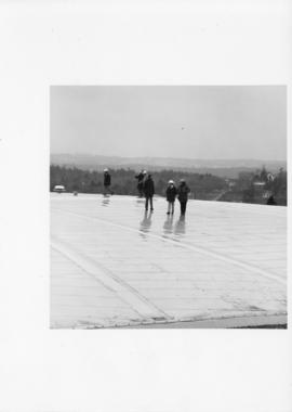Photograph of people standing on the roof of Dalplex