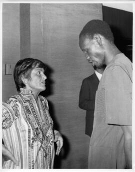 Photograph of Elisabeth Mann Borgese and Joseph Warioba at Pacem in Maribus V