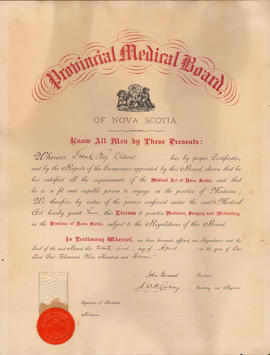 Certificate of the Provincial Medical Board - Dr. F.R. Davis, 1911