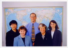 Photograph of Elisabeth Mann Borgese with the International Ocean Institute (IOI)-Halifax staff