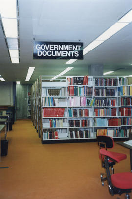 Photograph of the Government Documents stacks at the Killam Memorial Library, Dalhousie University