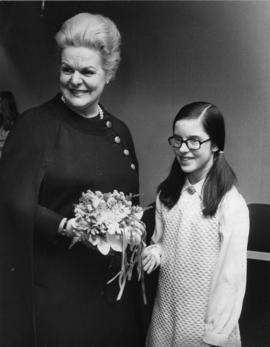 Photograph of Maureen Forrester with unidentified girl