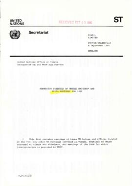 Tentative schedule for United Nations and UNIDO (United Nations Industrial Development Organizati...