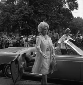 Photograph of the Queen Mother arriving at an event