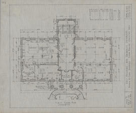 Technical drawing of the first floor plan of an arts building for Dalhousie University
