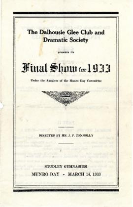 Program from the Dalhousie Glee and Dramatic Society's final show for 1933