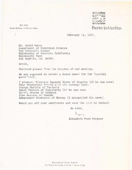 Correspondence between Elisabeth Mann Borgese and Arvid Pardo regarding International Ocean Insti...