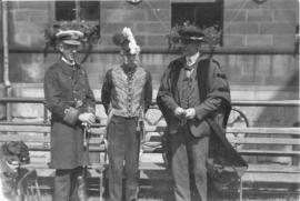 Photograph of Arthur Stanley MacKenzie and two unidentified people in uniform at a Dalhousie reunion
