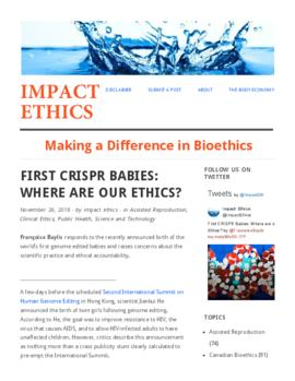 First CRISPR babies : Where are our ethics?