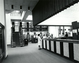 Photograph of the Circulation Desk in the W.K. Kellogg Library - taken from entrance