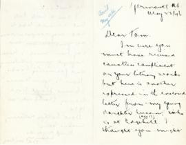 Correspondence between Thomas Head Raddall and Ted Wilson