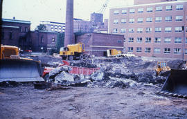 Photograph of demolition of Medical-Dental Library