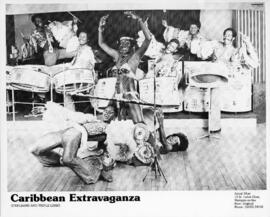 Photograph of Caribbean dancers performing a triple limbo
