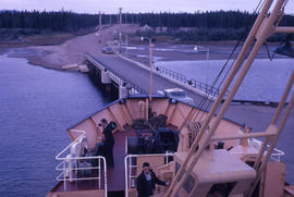 Photograph of a ship docked at a wharf in Goose Bay, Newfoundland and Labrador