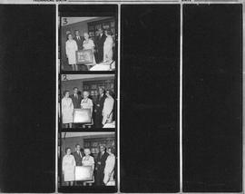 Proof sheet of photographs of the presentation of a picture to Mrs. Stoker