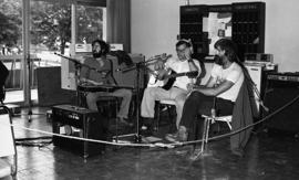 Photograph of a band at a CBC radio broadcast at the Dalhousie Arts Centre