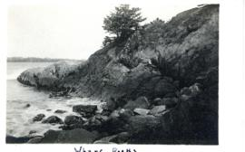 Photograph of the Wharf Rocks at Liverpool, Nova Scotia printed on a postcard