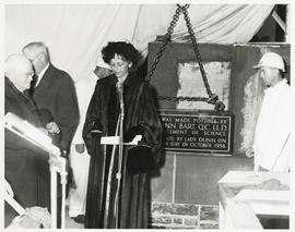 Photograph of Lady Dunn making a speech