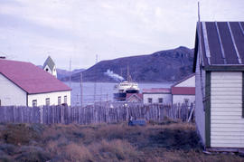 Photograph of the Hopedale coming into the harbour in Nain, Newfoundland and Labrador