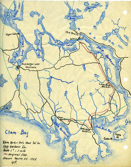 Map of Clam Harbour and Owls Head Telephone Company's telephone line