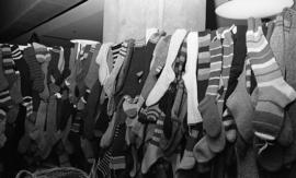 Photograph of a stand selling knitted socks at a craft market