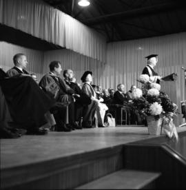 Photograph of Henry Hicks speaking at the opening of the Tupper Building
