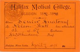 Student tickets from the Halifax Medical College