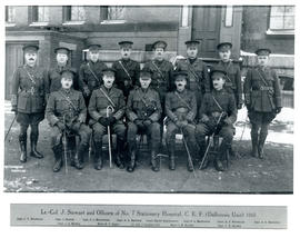 Photograph of Lieutenant Colonel John Stewart and Officers of the Dalhousie No. 7 Stationary Hosp...