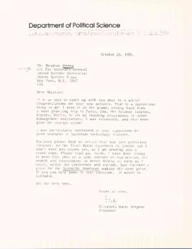 Correspondence between Maurice Strong of the International Development Research Centre and Elisabeth Mann Borgese