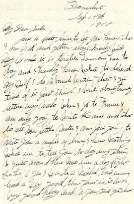 Letter from Weldon Morash to his sister Gertrude dated 15 September 1918