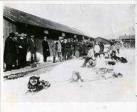 Photograph of the Dempster patrol on return to Dawson City