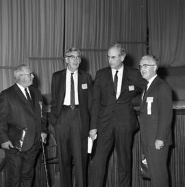 Photograph of R. C. Dickson, C. B. Weld, Sir Peter Medawar, and Chester Stewart