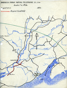 Map of Baddeck Forks Mutual Telephone Company's telephone line