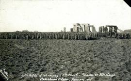 Photograph of the 90th Rifles of Winnipeg, 8th Battalion on a parade at Stonehenge, Salisbury Pla...