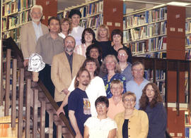 Photograph of the W.K. Kellogg Library staff of 2004, group photograph on staircase