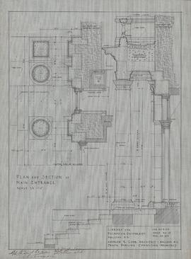 Technical drawing of the main entrance of a library for Dalhousie University