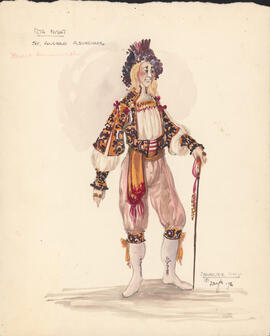 Costume design for Sir Andrew Aguecheeck