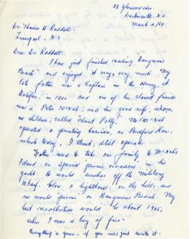 Correspondence between Thomas Head Raddall and W. A. Parker