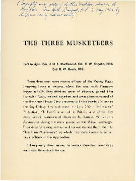 "Souvenir entitled ""The Three Musketeers"""
