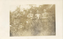 Postcard with a photograph of five unidentified people at a Dalhousie reunion