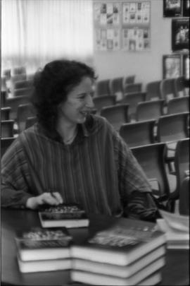 Photograph of Margaret Atwood at the Canadian Book Information Centre