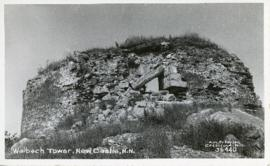 Photograph of the Walbach Tower ruins in New Castle, New Hampshire printed on a postcard
