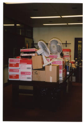 Photograph of items packed in preparation for the Killam library Reference renovation